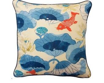 Indigo Lotus Leaf Cushion