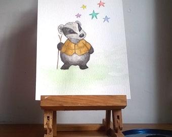 Whimsical Badger Painting, Original Watercolour Painting, Cute Badger, Woodland Creature, Nursery Room Art,