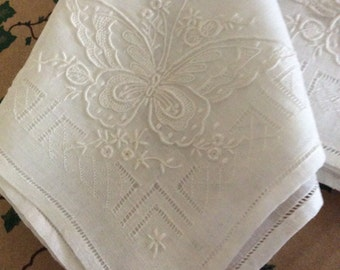 Hankies Women's Embroidered Butterfly Design