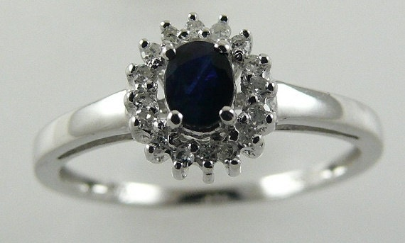 Sapphire 0.30ct Ring with Diamonds 0.09ct 14k White Gold