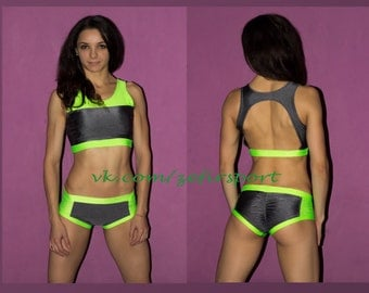 Yoga, pole dance, sport two pieces bra top and shorts