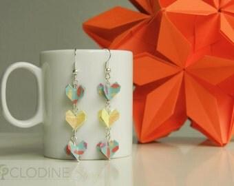 Origami Triple Heart Earrings, Origami jewelry,  Origami heart, Small jewelry, Little, Geometric, Heart jewelry,Gift idea,Anniversary