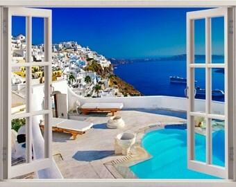 Santorini Greece 3D Window Wall Sticker
