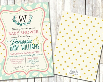 VINTAGE BABY SHOWER invitation, Spring Baby/Bridal Shower, Laurel Monogram