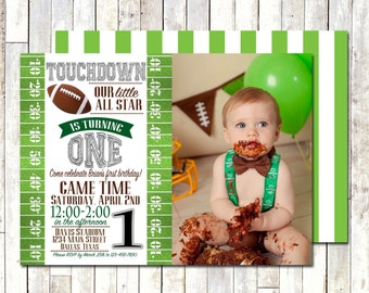 FOOTBALL BIRTHDAY INVITE with Photo!! 5x7 Invitation. Digital/Printable