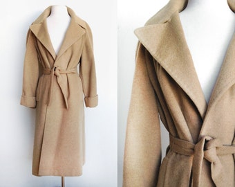 60s Vintage Camel Hair Coat -Wool Longline Wrap Coat- Excellent Condition-Small 4/6