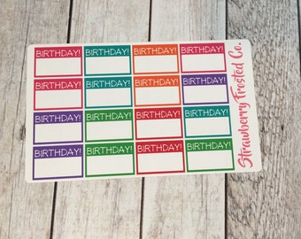 Birthday Boxes Planner Stickers Bold Colors-Birthday Planner Stickers- Made to fit Vertical Layout