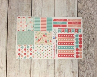 Shabby Chic Floral Themed Planner Stickers- Made to fit Vertical Layout