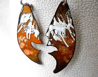 Large Dangle Copper Earrings, White Orange Enameled Earrings 'Two Faces', Hot Enamel Painting, Statement Jewelry, Modern Metal Jewelry