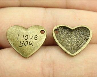 6 I Love You Engraved Heart Charms, Antique Bronze Tone (1G-142)