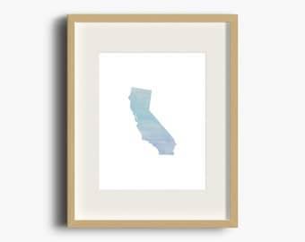 California Blue Ombre Watercolor Print | California Print | California Watercolor | California Nursery Art