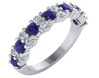 Sapphire and Diamond Ring,Sapphire Wedding Band, Diamond and Sapphire Wedding Ring, Sapphire Ring, Sapphire and Diamond Ring in Gold