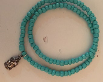 Tiny Buddha Double Wrap Turquoise Bracelet (Fitted)