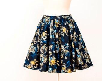 Floral Print Skirt, Gathered Skirt, Circle Skirt, Circle Gathered Skirt, High Waisted Skirt, Short Skirt, Floral Skirt, Womens Skirt