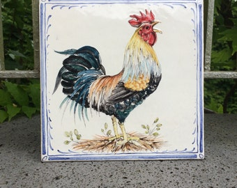 8x8 inch Hand made and hand painted tiles - Rooster