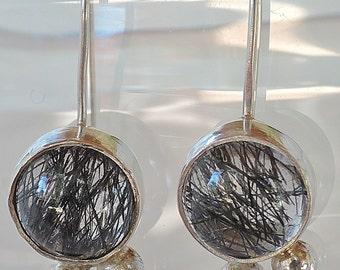 Black rutilated quartz, black spinel sterling silver earrings