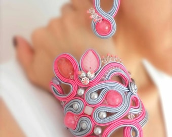 OOAK soutache pink gray statement bracelet gift for her soutache jewelry set favorite best selling jewelry fiber art jewelry fairytail set