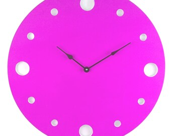Large Pink Clock with Cut Out Circle Numerals