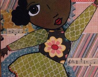 African American girl, dancer, mixed media, folk art, print