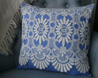 """Pillow Cover, Lace Pillow Cover, 16""""x16"""" Pillow Cover, Upcycled Pillow Cover, Vintage Pillow Cover, Lace Throw Pillow, Blue Lace Pillow"""