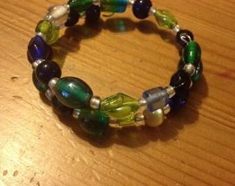 Green and blue wrap bracelet