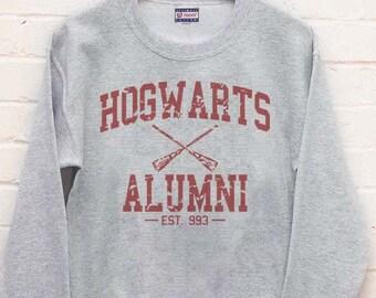 Hogwarts Alumni Maroon print on Crew neck Sweatshirt