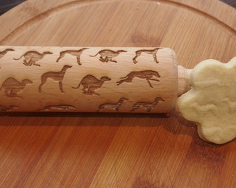 Mini laser engraved rolling pin with whippets