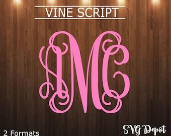 Vine svg file, font svg, cut file, instant download, interlocking letters svg, 2 styles