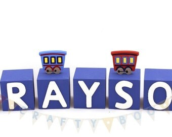 Personalised Wooden Letter Blocks, Boys Name blocks, Train themed blocks,