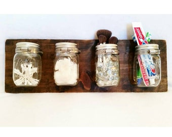Rustic Wall Decor For Bathroom rustic mason jar organizer makeup organizer bathroom
