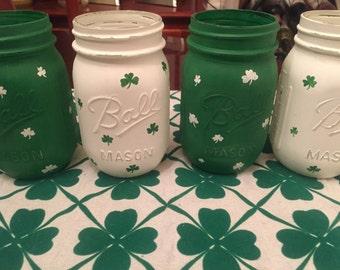 St Patrick's Day Hand Painted Mason Jar Set