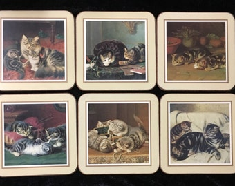 Cats At Home Kitty Cat Coasters Set of 6 Made in England.
