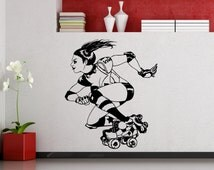 Harley Quinn Wall Decal Roller Derby DC Marvel Comics Superhero Vinyl Sticker Home Interior Roller Skating Decor Waterproof Mural (322su)
