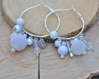 Earrings Creoles with glass beads in the color white