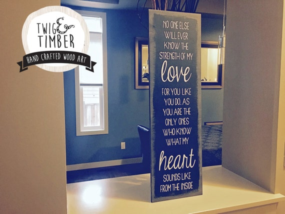 """Mothers Love Sign - """"Heart from the Inside""""  - CUSTOM COLOR CHOICES"""