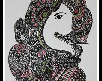 Lord Ganesha, Ganesha Zentangle, Elephant-head God, Doodle art, Pen and Ink, Décor, Zentangle Art