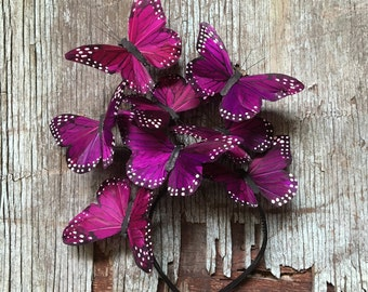 Magenta Butterfly Fascinator, Headpiece, Headband