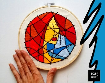 Embroidery Hoop Art-Red-Embroidery with frame