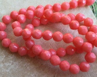 SALE!! 40% OFF Store Wide!!! Faceted Peach Coral Gemstone Beads