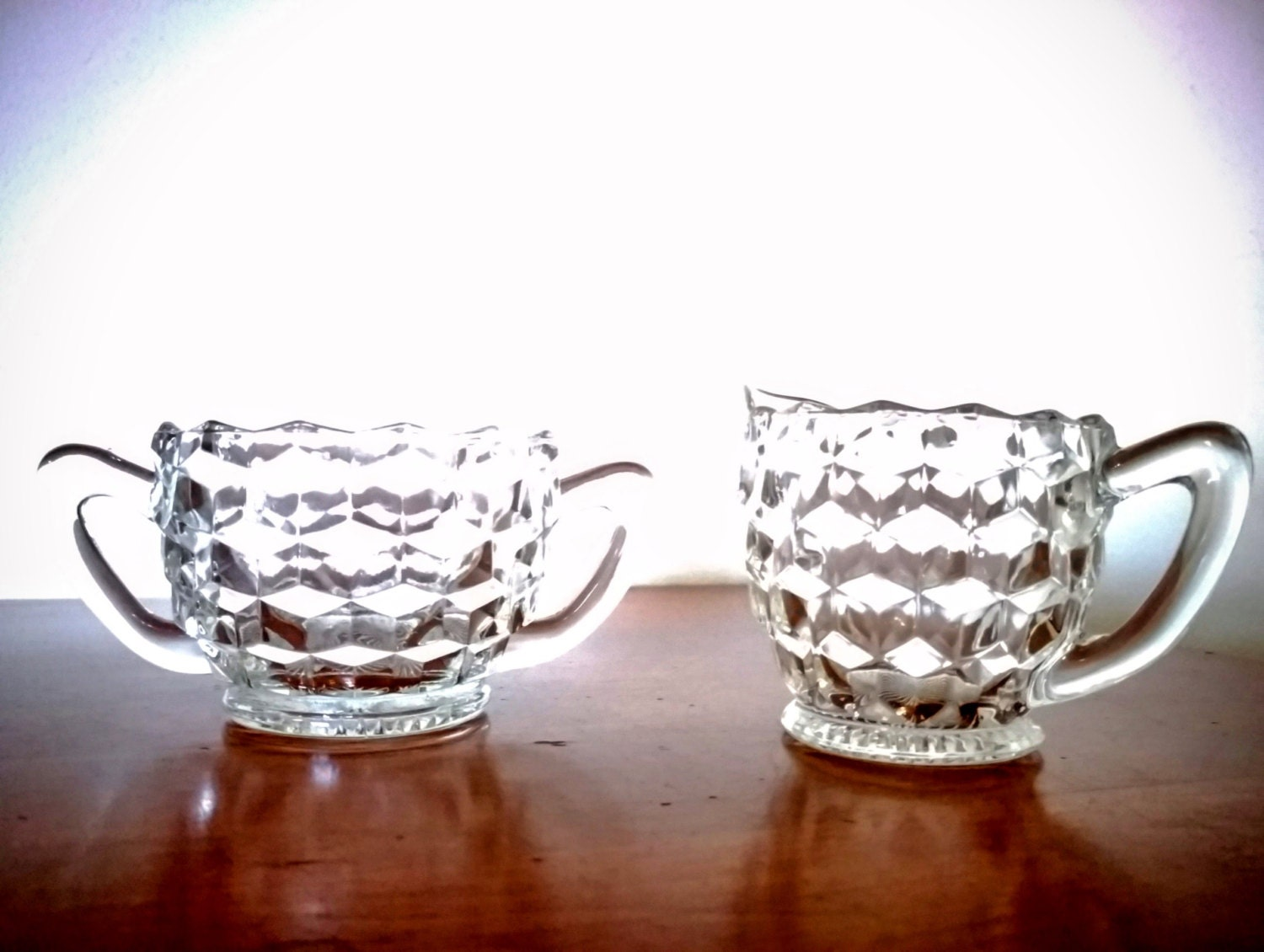 Jeannette glass crystal clear sugar bowl and creamer set