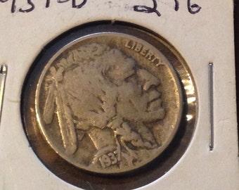 1937 D Buffalo Nickel, VF