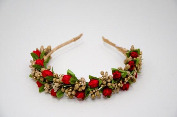 Gold flower crown / Red Gold Tulips Headband / Flower crown / Florar Headbband / Festival headpiece