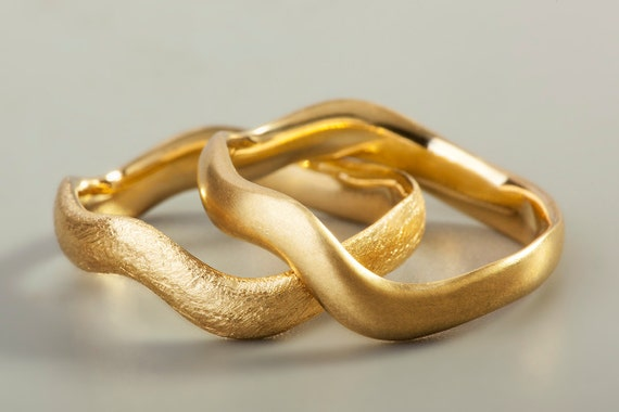 gold wave ring 18k gold wedding band gold wedding ring by