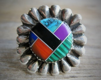 Signed Zuni Inlay Sterling Ring