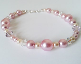 Sugared Almonds Glass Pearl and Swarovski Crystal Beaded Bracelet with Sterling Silver Clasp