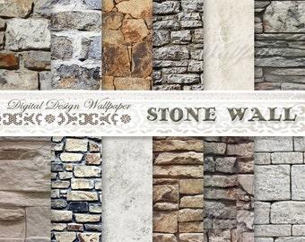 COMMERCIAL USE,Brick Wallpaper, Digital Paper Pack,Brick Paper,Instant Download Backdrop, Stone Background,Grunge Scrapbook Paper,Brick Wall