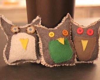 Felt Scrap Owls, Set of 3