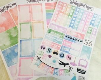 Watercolour Memories Weekly Sticker Kit | Erin Condren & Plum Paper Planner