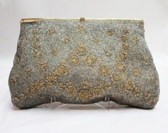 1950s Silver and Gold Beaded Bag