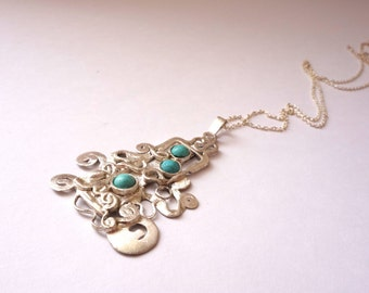 Sterling Silver Turquoise Abstract Necklace
